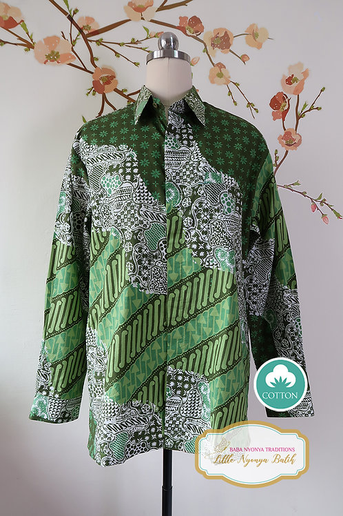 SBML: Traditional Motif Batik Green on cotton. No Lining. size L