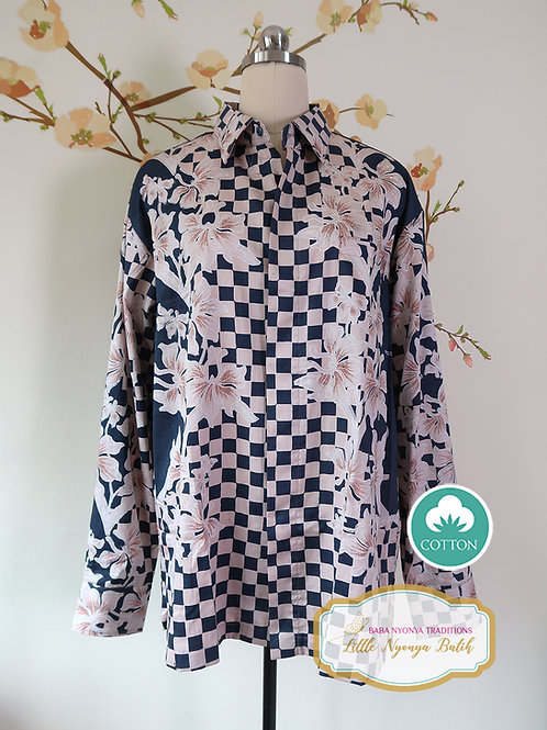 SBML: Crane Orchid Navy on Silky Cotton Sateen. No Lining. Size XL