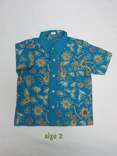 Boy Shirt Floral Sky Blue. For 2yo