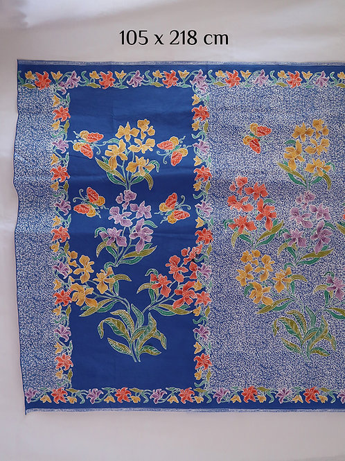 Sarong Orchid Butterfly on Blue Cotton
