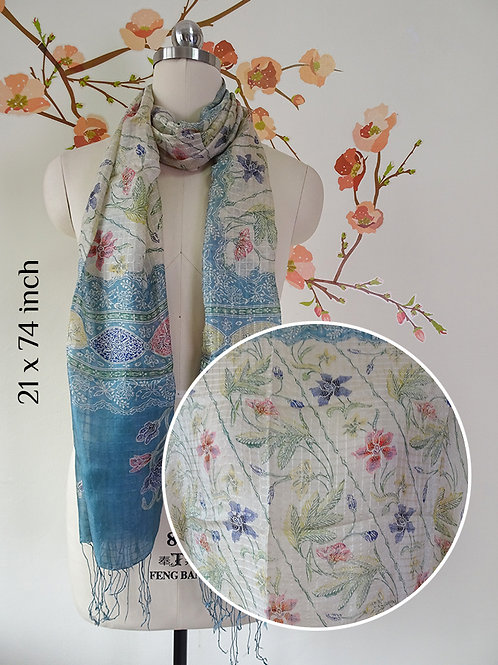 Silk Scarf Small Floral White Blue (Medium)
