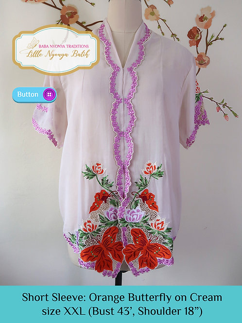 Short Sleeve Butterfly on Cream (XXL)