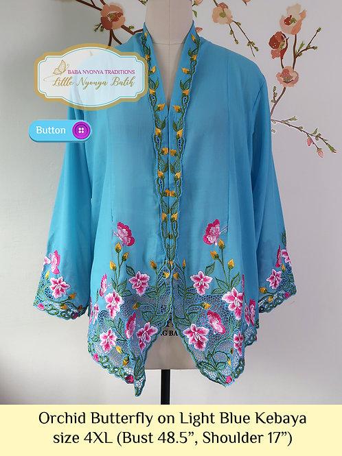 size 4XL: B Orchid Butterfly in LightBlue Kebaya