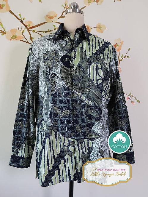 Hand-drawn Shirt Bird Green Black on cotton (M)
