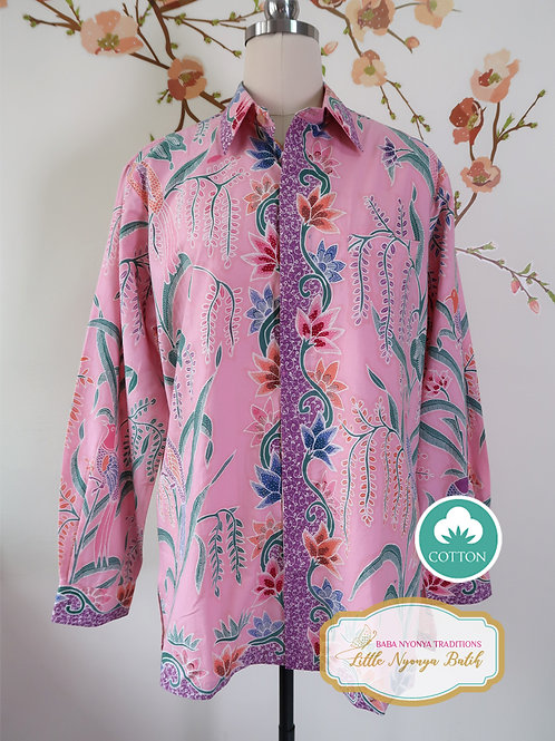 Hand-drawn Bird Light Pink on Cotton (L)