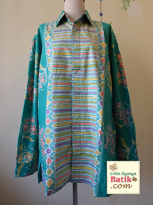 SBML: Rainbow Orchid Turquoise on cotton. No Lining. size XL