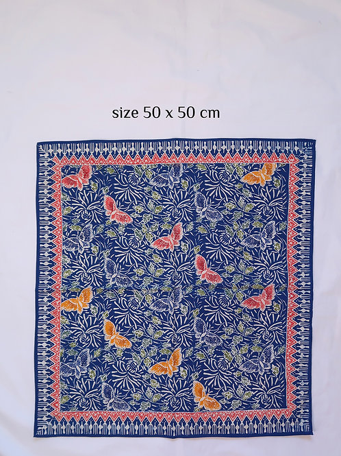 Extra Large Hankie/Napkin Butterfly Cobalt