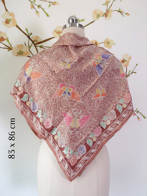 Square Batik Scarf Butterfly Warm Tan on Smooth Silk