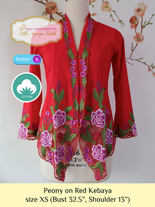 C: Peony on Red Kebaya. size XS