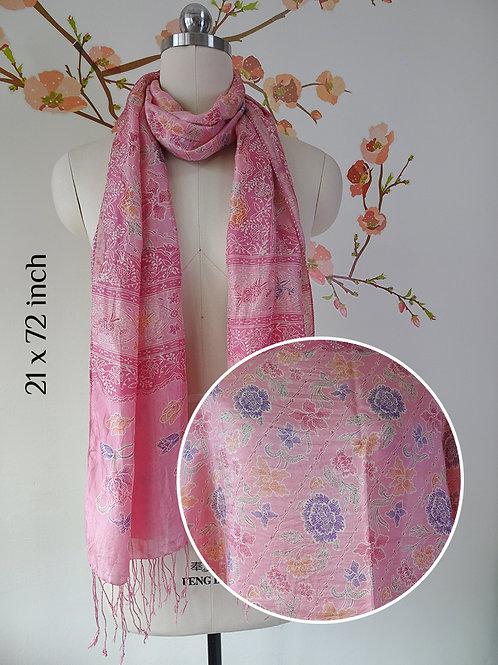 Silk Scarf Roses Pink (Medium)