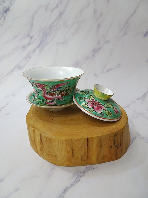 Baba Tea Cup Square  Lid, Saucer Turquoise in Box