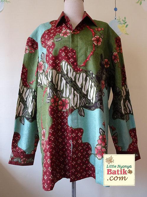 Hand-drawn Floral on Green Silk. Long (2XL)