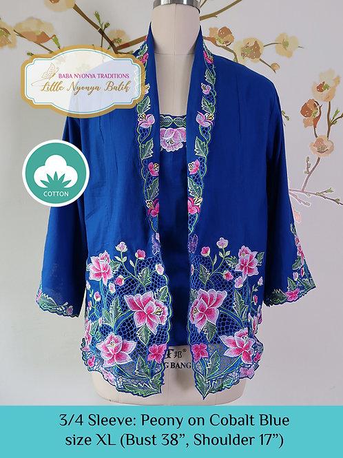 Size XL 3/4 Sleeve Kebaya with Camisole Peony Cobalt Blue