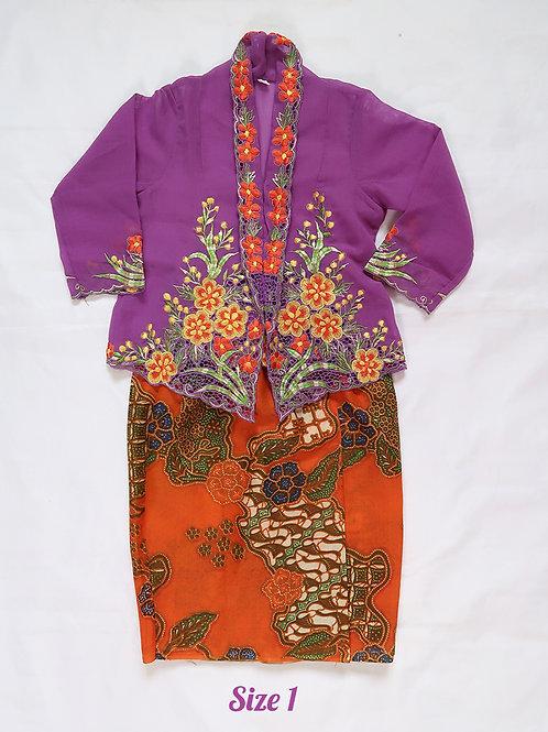 size 1 (1 yo). Orange Flower on Purple Kebaya