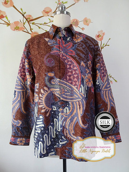 Hand-drawn Shirt Bird Chocolate on Textured silk (M)