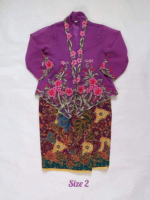 size 2  (2 yo). Pink Flower on Purple Kebaya