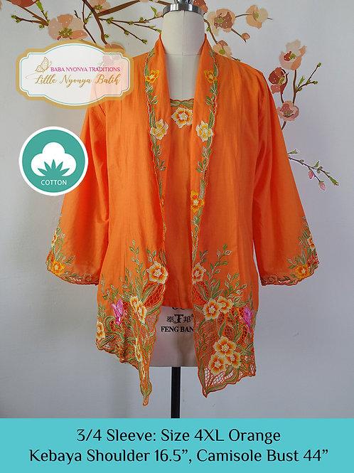 Size 4XL 3/4 Sleeve Kebaya with Camisole Orange