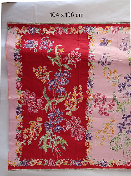 Sarong 2tone Orchid on Red-Pink Cotton