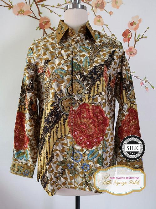 Hand-drawn Shirt Rose Ochre on Textured Silk (S)