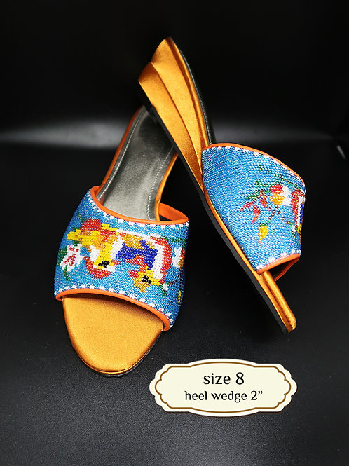 Ducks on Blue Beaded Shoe. size 8 /Eur 39 / 25cm
