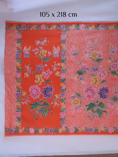 Sarong Butterfly Peony on Tangerine Cotton
