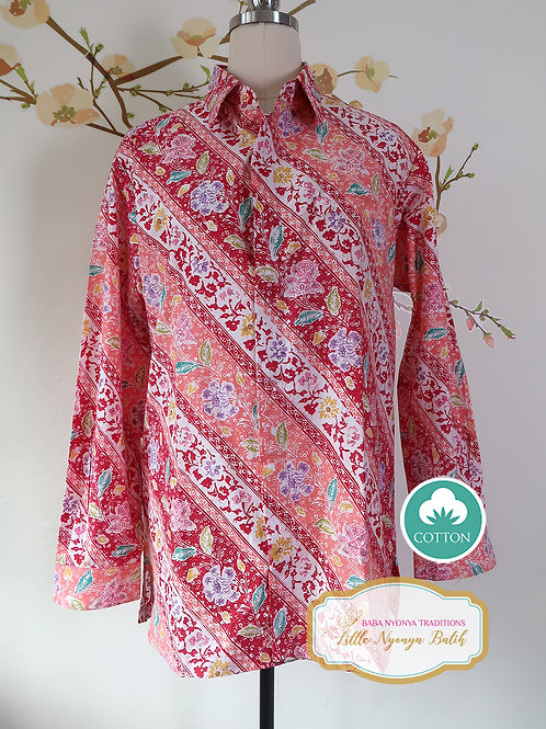 SBML: Flower Red on cotton. No Lining. size L