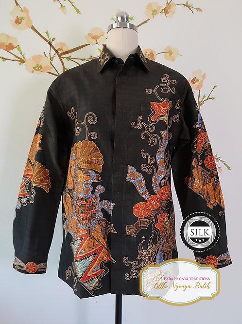 Hand-drawn Shirt Floral Black on Textured silk (M)