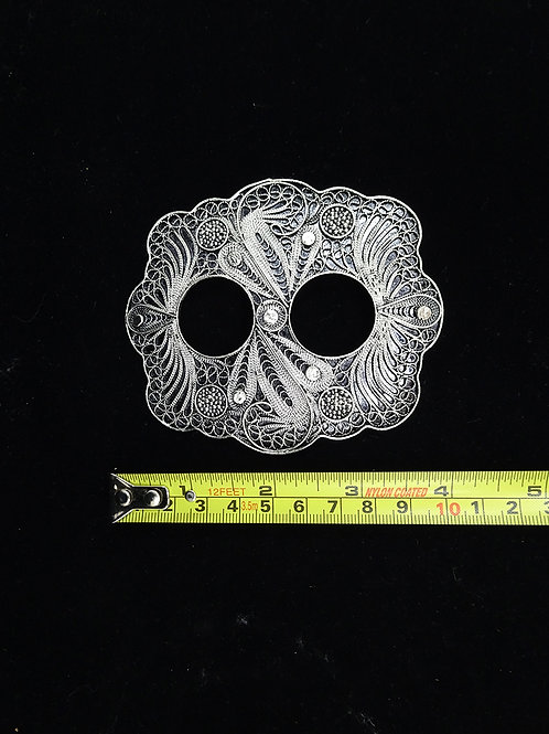 Copper Filigree Sarong Buckle in Silver Finish (C)