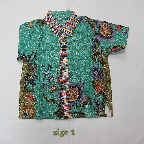 Boy Shirt Floral Turquoise. For 1yo