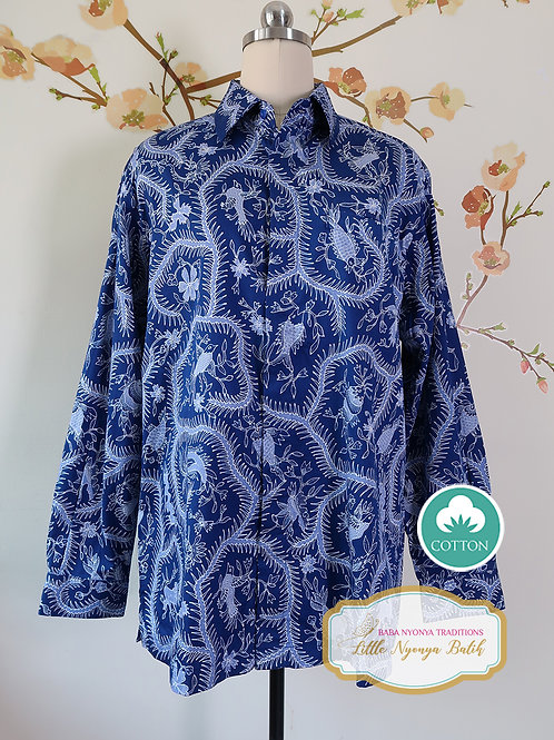 Hand-drawn Blue Bird & Fish on Cotton Sateen. Size L