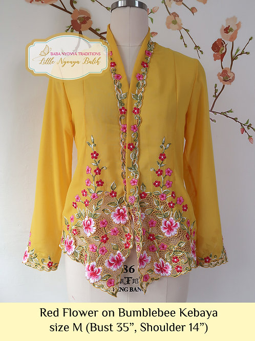 B: Red Flower in Bumblebee Kebaya. size M
