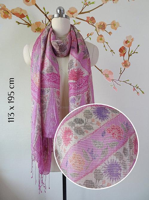 Batik Scarf Pink Flower A on Silk (Large)