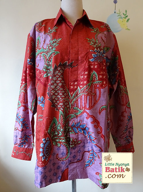 Hand-drawn Shirt Floral Red-Purple on Textured silk (L)