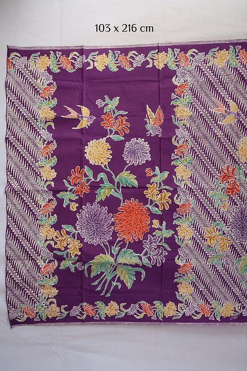 Sarong Bird & Butterfly Chrysanthemum on Violet Cotton