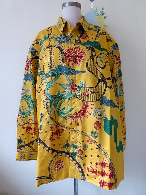 Hand-drawn Phoenix on Yellow Cotton. Long (2XL)