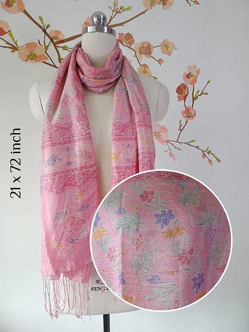 Silk Scarf Small Flower Pink  (Medium)