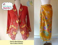 peranakan red gold fish nyonya kebaya yellow sarong batik singapore
