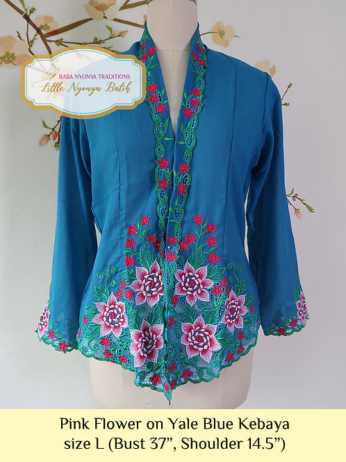 B: Pink Flower in Yale Blue Kebaya. size L
