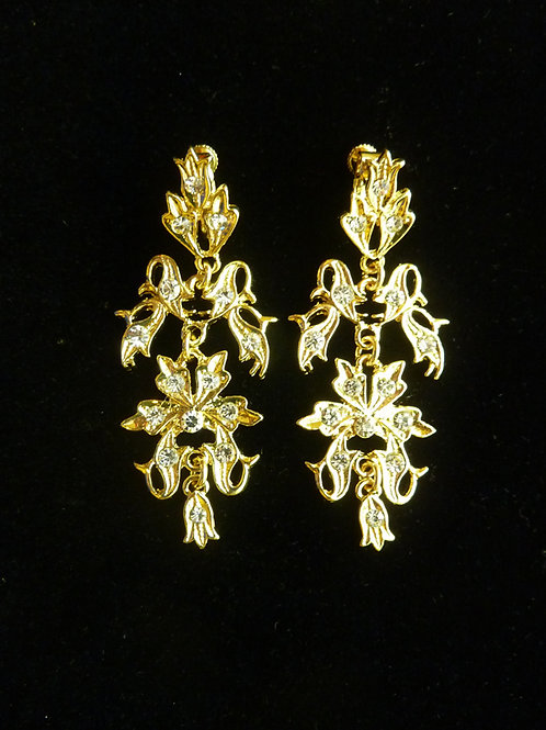 Peranakan Clip Earring Vintage Style Chandelier C