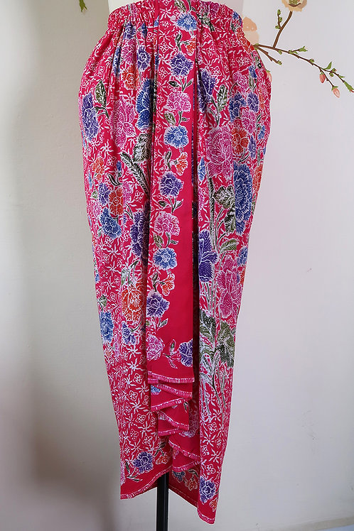 Sarong Rubberised Skirt Intricate Magenta A