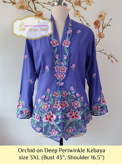 H: Orchid in Deep Periwinkle Kebaya. Size 3XL