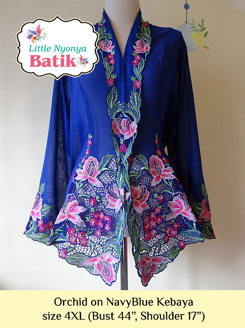 Size 4XL H: Orchid in Navy Blue Kebaya