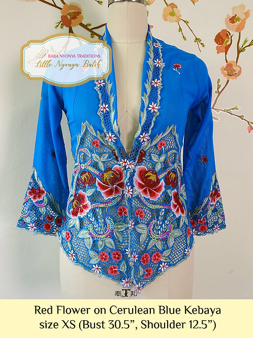 H: Red Flower in Cerulean Blue Kebaya. size XS