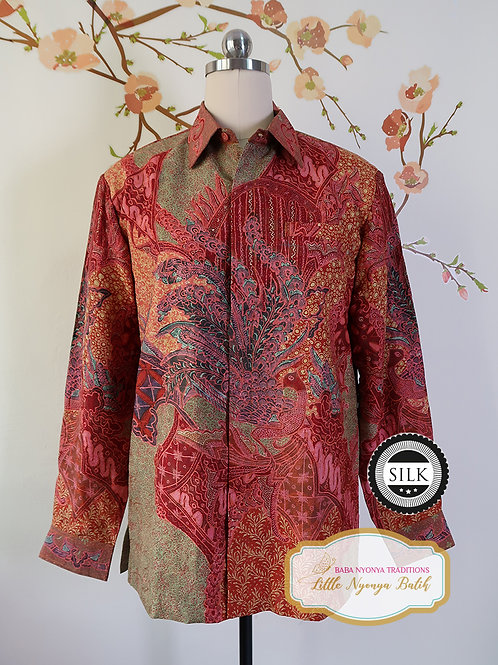 Hand-drawn Shirt Peacock Red on Textured silk (M)