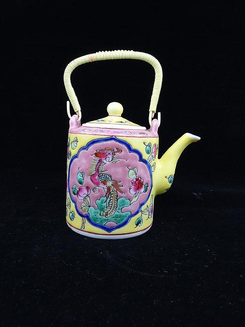Tea Pot Phoenix Pink, Yellow & Turquoise (A)
