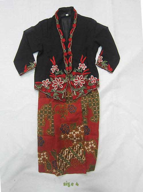 size 4 (4 yo). Red Flower on Black Kebaya