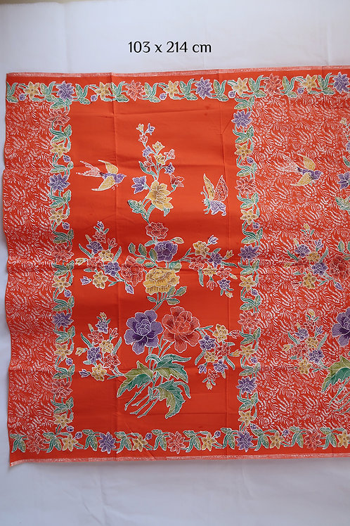 Sarong Bird & Butterfly on Tangerine Cotton