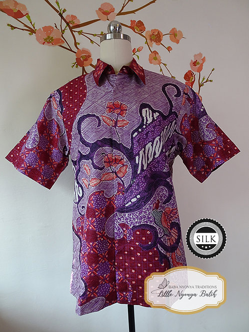 Hand-drawn Abstract Purple. Textured silk. Size M