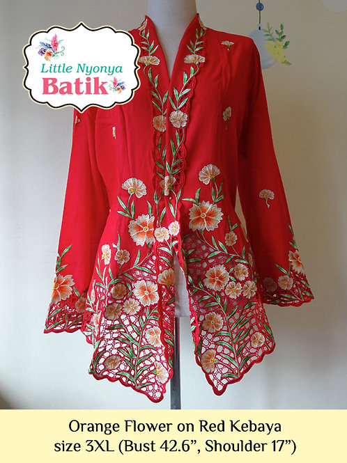 H: Orange Flower on Red Kebaya. Size 3XL