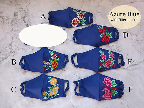 Cotton Embroidery Mask with Filter Slot Azure Blue